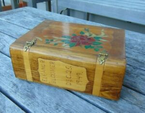 Christmas Box Dedicated 25 Dec 1949 Bench Made Wood Stained Painted Carved