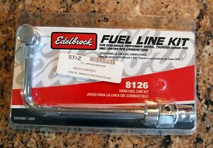 Brand New Edelbrock 8126 Chrome Steel Fuel Line Kit With 3 8 Barb Fitting
