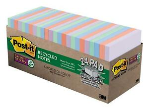 Post it Super Sticky Recycled Notes Bali Colors 2x The Sticking Power Large