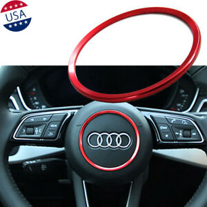 Red Steering Wheel Center Decor Ring Cover Trim For Audi A3 A4 A5 A6 Tt S3 S4 Rs