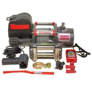 Warrior 9 500 Lb Capacity Short Drum 12 volt Electric Winch With 45 Ft Steel C
