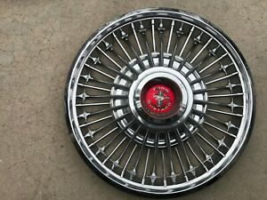 67 68 69 Ford Mustang 14 Wire Spoke Hubcaps Wheel Cover Red