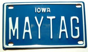 Maytag Antique Gas Engine Hit Miss Miniature License Plate