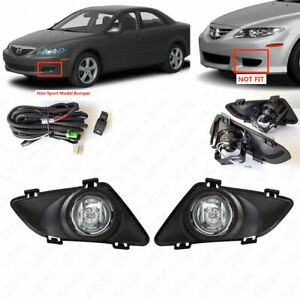 Fit 2003 2004 2005 Mazda 6 Driving Fog Light Kit With Bezel Wire Switch Bulbs