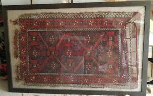 Nice Antique Very Old 5 By 3 Rug Framed 19th