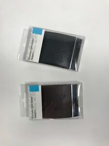 New Business Card Holder Black Brown Faux Leather Holds 15 Magnet Flap