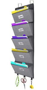 Over The Door Hanging File Organizer Wall Mounted Office Supplies Storage
