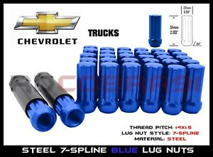 Blue 7 Spline Lug Nuts 24pc 2 Keys Fit 1999 2020 Gmc C 1500 Chevy Silverado
