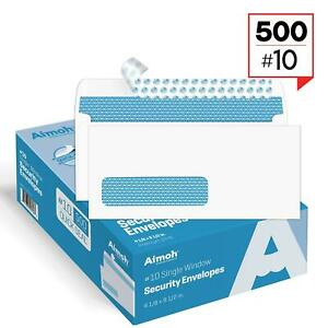 Envelopes 10 Single Left Window Self Seal Security Envelopes 500 Count
