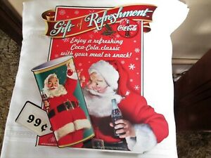 1998 Coca Cola Double Sided Gift Refreshment Santa Claus Cardboard Hanging Sign