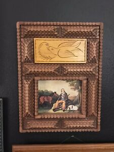 Folk Art Antique American Carved Wood Tramp Art Picture Frame Layered Wooden