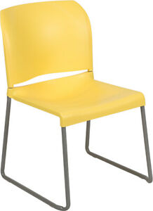 Heavy Duty Yellow Stack Office Chair With Sled Metal Base Waiting Room Chair