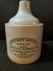 Rare Old Chicago 1 2 Gal Red Wing Advertising Jug Stueben County Wine Co