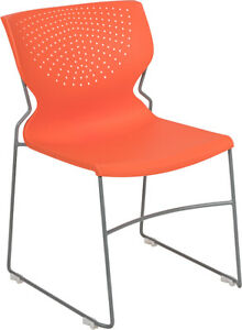 Heavy Duty Orange Stack Office Chair With Sled Metal Base Waiting Room Chair