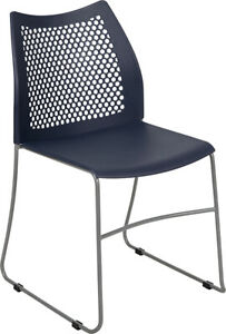 Heavy Duty Navy Stack Office Chair With Sled Metal Base Waiting Room Chair