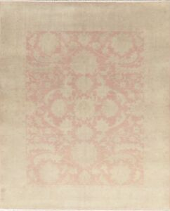 Antique Muted Floral Oushak Oriental Area Rug Hand Knotted Wool Pink Carpet 8x10