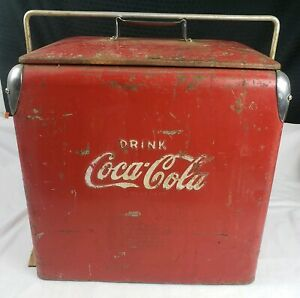 Coca Cola Coke Cooler Vintage 1950s Metal Ice Chest Cooler Tray Insert Embossed