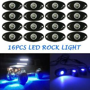 16x Blue Led Rock Light Pod Lights For Off Road Truck Car Atv Suv Under Wheel
