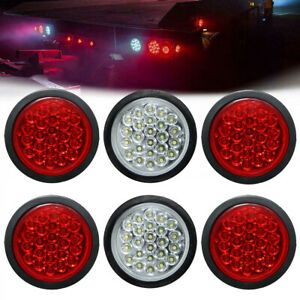 4 Round 24 Led Stop Turn Reverse Backup Tail Lights Trailer 4 Red 2 White