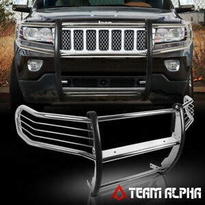 Fits 2011 2016 Grand Cherokee Chrome Stainless Steel Bumper Grille brush Guard