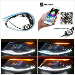 2pcs 60cm Car Rgb Strip With App Bluetooth Remote Control For Headlight Assembly