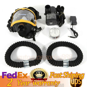 Electric Air Supply Gas Mask Air Respirator Anti virus Gas Filter Full Face Mask