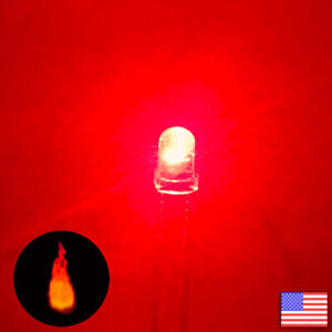 10pcs 3mm Red Candle Flicker Bright Flickering Led Light 10x Fast Us Shipping