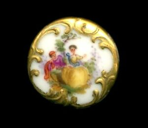 Antique Button Very Pretty Hand Painted Porcelain Couple W Fancy Gold Border