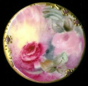 Antique Porcelain Stud Button 1 7 16 Much Larger Than Most Pink Roses 3 Of 3