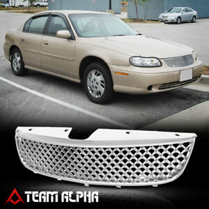 Fits 1997 1999 Chevy Malibu 3d Wave Mesh Glossy Chrome Abs Bumper Grille Grill