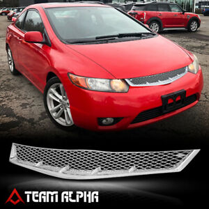 Fits 2006 2008 Honda Civic x mesh glossy Chrome Plastic Bumper Grille Vent Grill