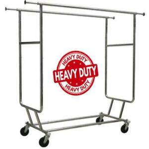 Only Hangers Double Rail Rolling Clothing Rack Commercial Grade Heavy Duty W