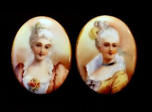 Pair Of Antique Porcelain Stud Buttons Lovely Victorian Ladies