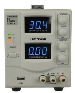 Tekpower Tp3005dm Linear Adjustable Digital Dc Power Supply 30v 5a With A 5v 2a