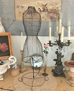 Omg Antique French Wire Dress Form twisted Metal jewelry Display doll mannequin