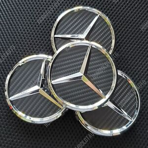 4 Carbon Fiber Style Wheel Center Caps For Mercedes Benz Wreath Hubcaps 75mm 3