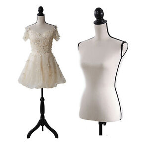 Beige Female Mannequin Torso Dress Form Black Tripod Stand Base Style