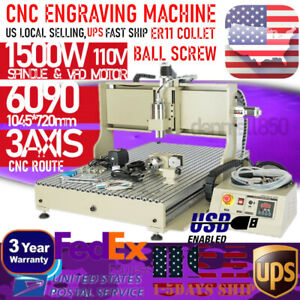 3axis 6090 Cnc Engraving Machine Router Metal Milling Machine Cutting Usb Port