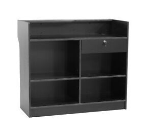 Black Wood Pressed Ledge Top Register Counter With Lockable Rear Drawer 48