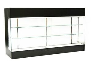 Black Laminate Wood Press Display Showcase Register Check Out Counter 72 W