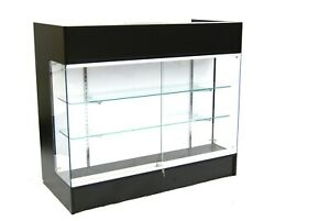 Black Laminate Wood 48 Inch Display Showcase Register Check Out Counter