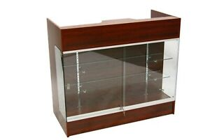 Cherry Wood Register Check Out Counter With Tempered Glass Display Front 48 W