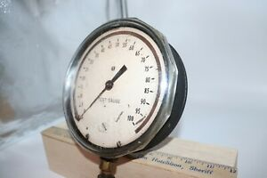Vintage Ashcroft Test Gauge 0 100 Psi 6 Face