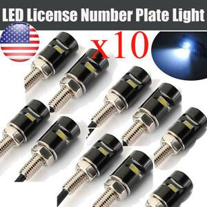 10x White Car License Plate Screw Bolt Light Bulbs Lamp led Smd Motorcycle 12v