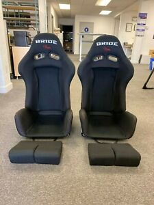 Pair 2 Bride Gias V1 Black Cloth Frp Shell Racing Seats Bucket Slider Open Box