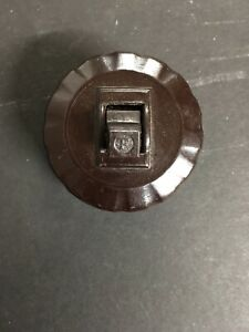 Vintage Circle F Brown Surface Toggle Switch Slot Base W Cover 3 Way