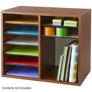 Safco Products 9420cy Wood Adjustable Literature Organizer 12 Compartment