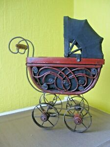 Vintage Ornate Wicker Baby Doll Carriage Wood Metal Wheels