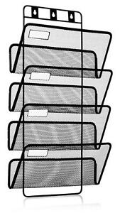 4 pocket Hanging Wall File Organizer Folder Holder Mounting Hardware Labels
