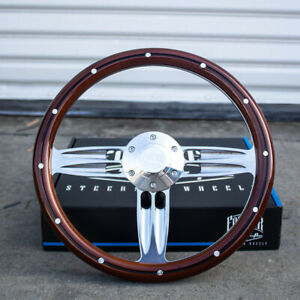 14 Inch Polished Wood Steering Wheel With Billet Horn 6 Hole C10 Camaro